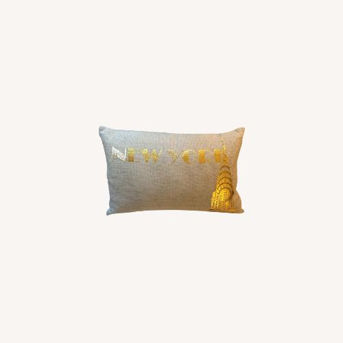 Used Ankasa Natural Linen & Gold Decorative Pillow for sale on AptDeco