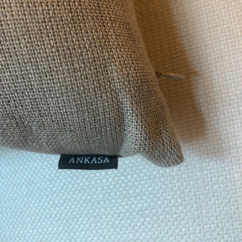 Ankasa Natural Linen & Gold Decorative Pillow - image-5
