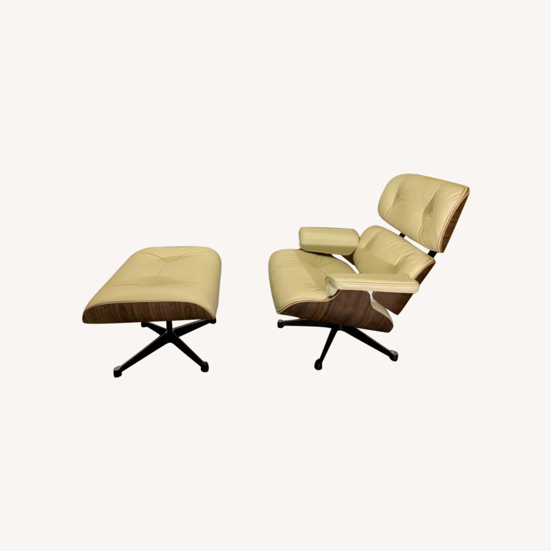 Replica Eames Lounge Chair + Ottoman Cream Leather - image-0