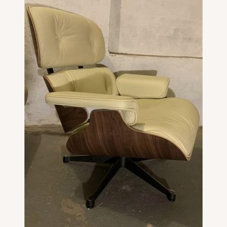 Replica Eames Lounge Chair + Ottoman Cream Leather - image-2