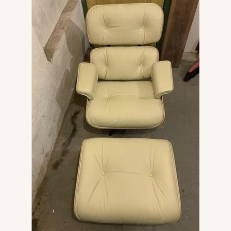 Replica Eames Lounge Chair + Ottoman Cream Leather - image-4