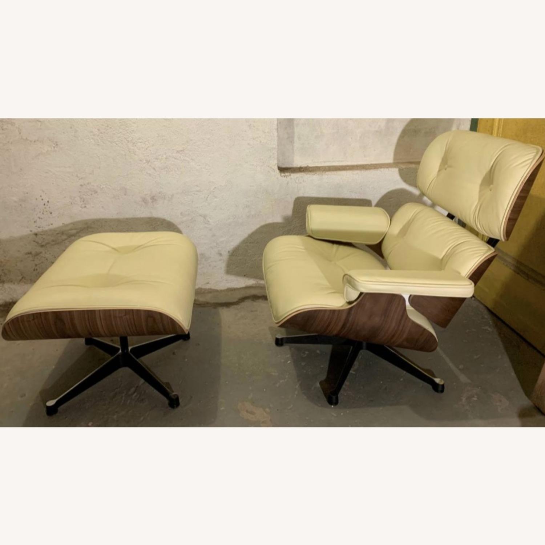 Replica Eames Lounge Chair + Ottoman Cream Leather - image-1