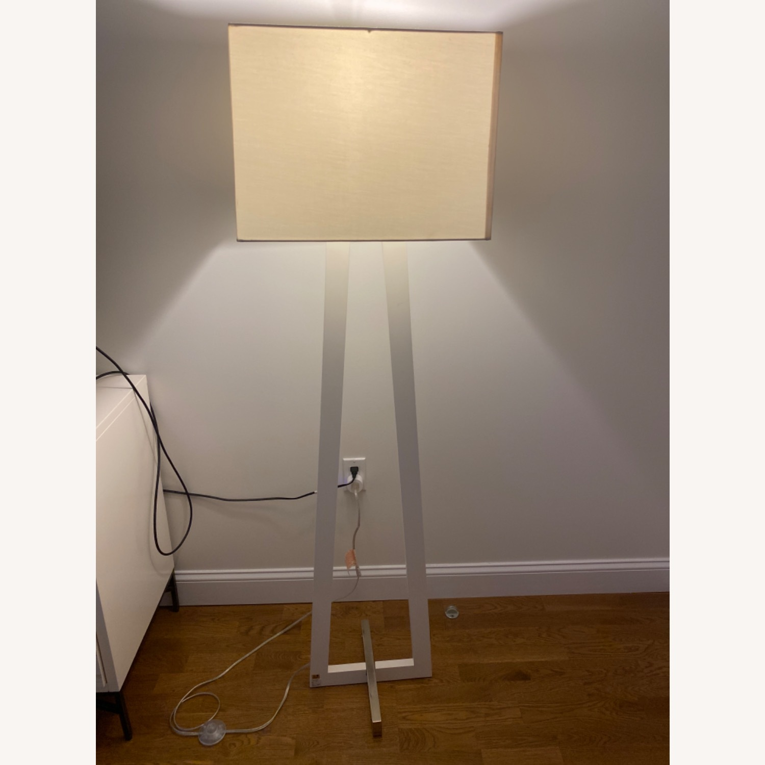 West Elm White Standing Lamp - image-1
