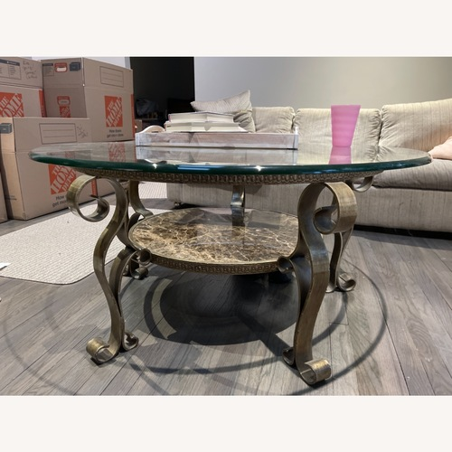 Used Fortunoff Glass and Marble Living Room Table for sale on AptDeco