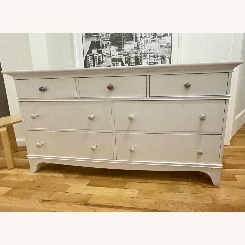 White Dresser with Unique Knobs - image-1