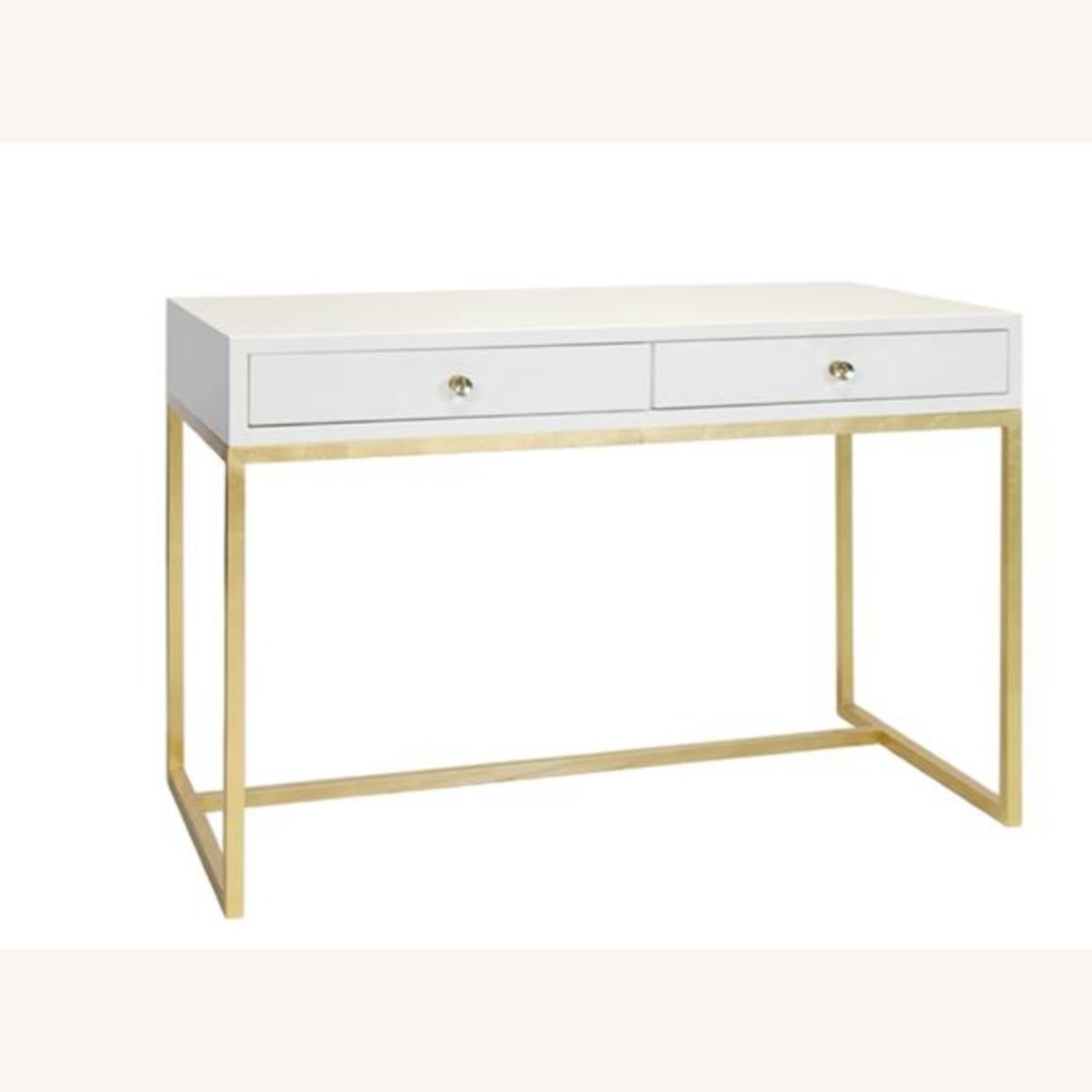 Kathy Kuo Cami Hollywood Regency White Lacquered Gold Desk - image-1