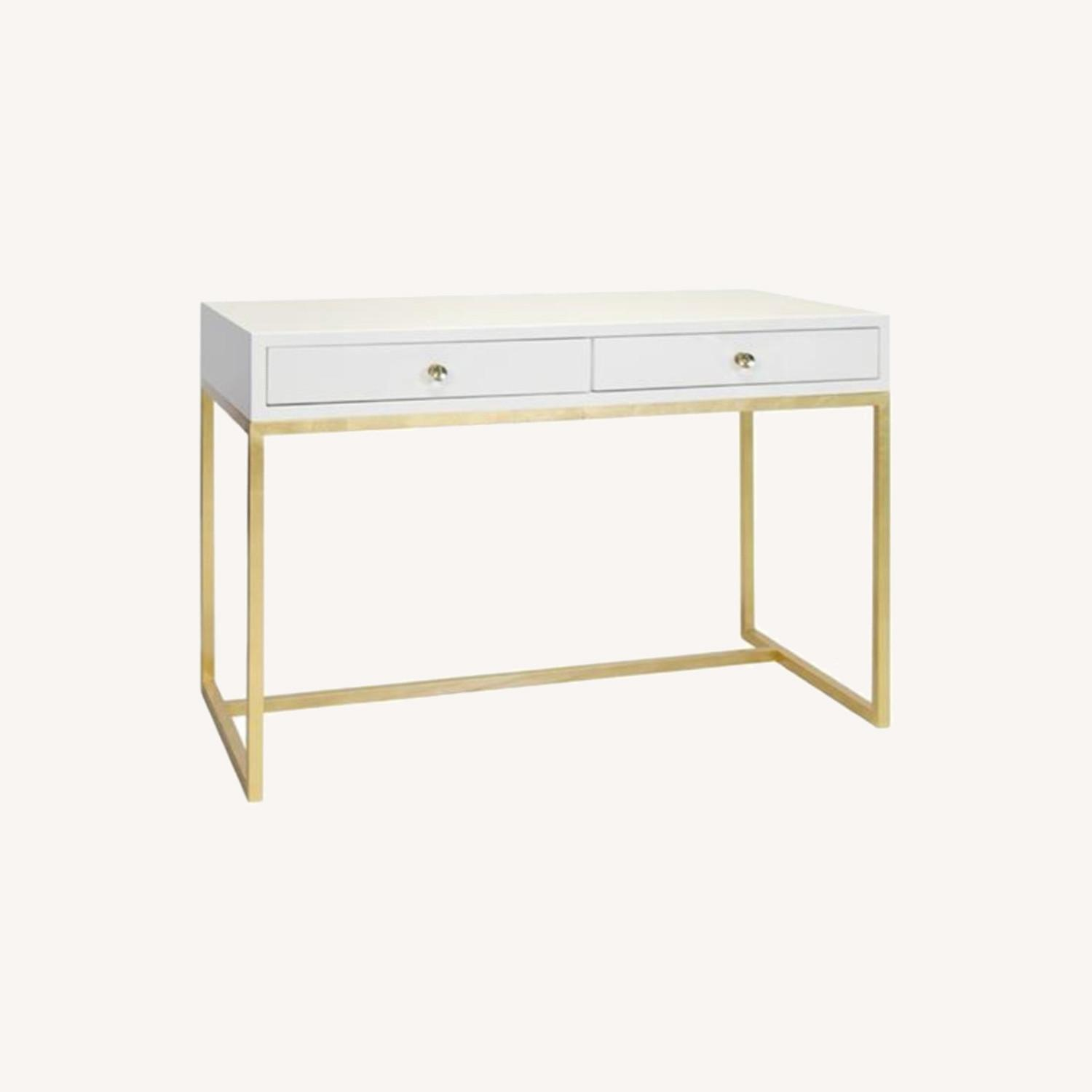 Kathy Kuo Cami Hollywood Regency White Lacquered Gold Desk - image-0