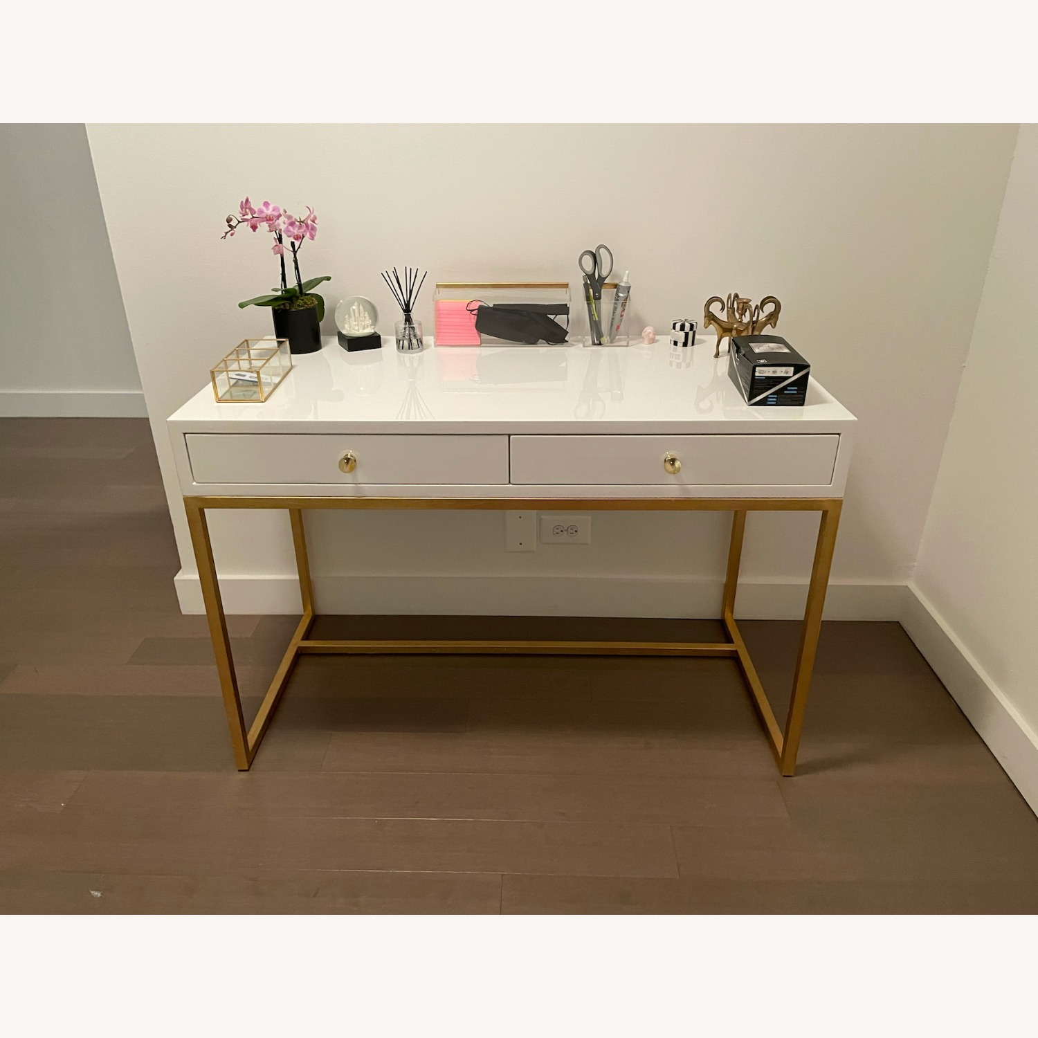Kathy Kuo Cami Hollywood Regency White Lacquered Gold Desk - image-3