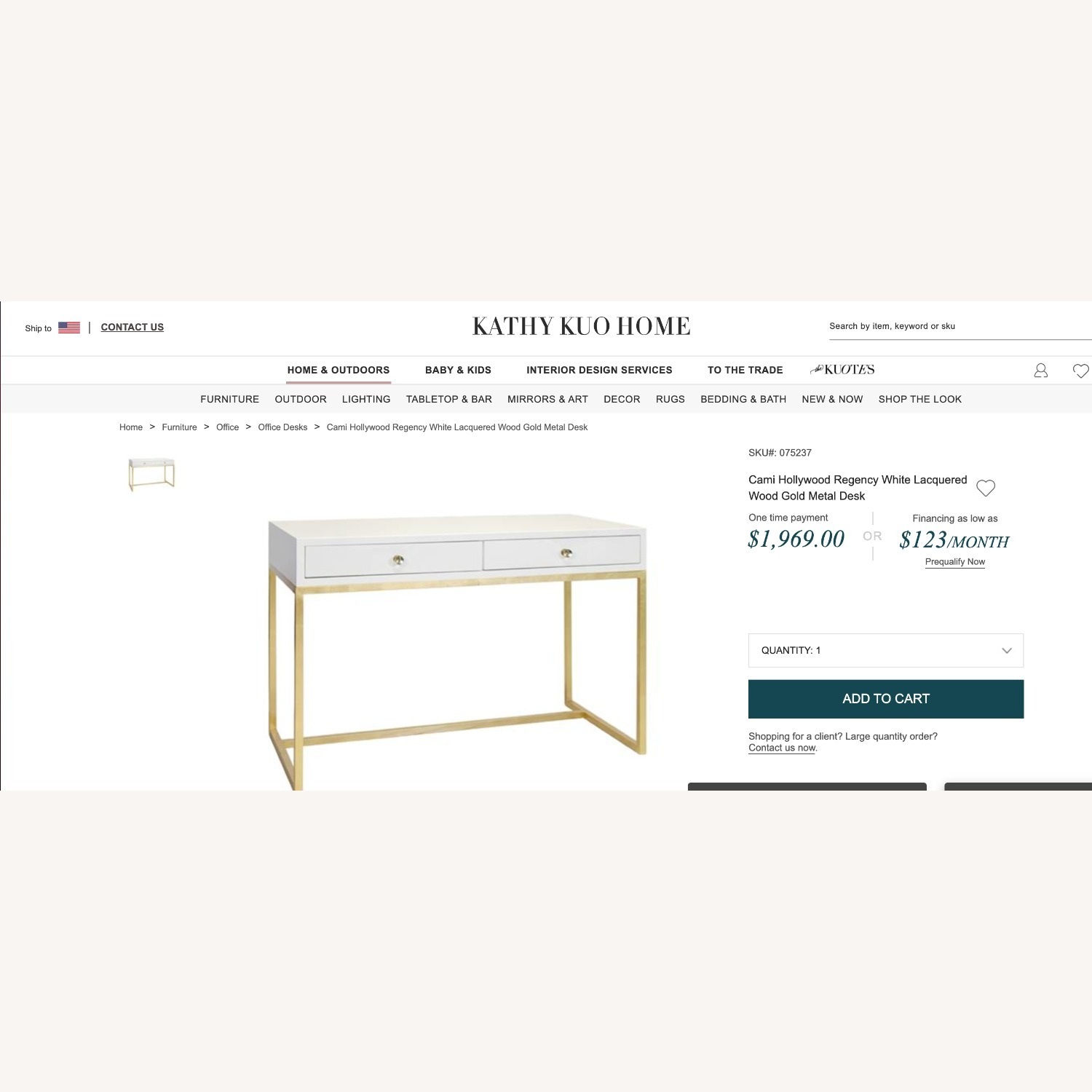 Kathy Kuo Cami Hollywood Regency White Lacquered Gold Desk - image-2