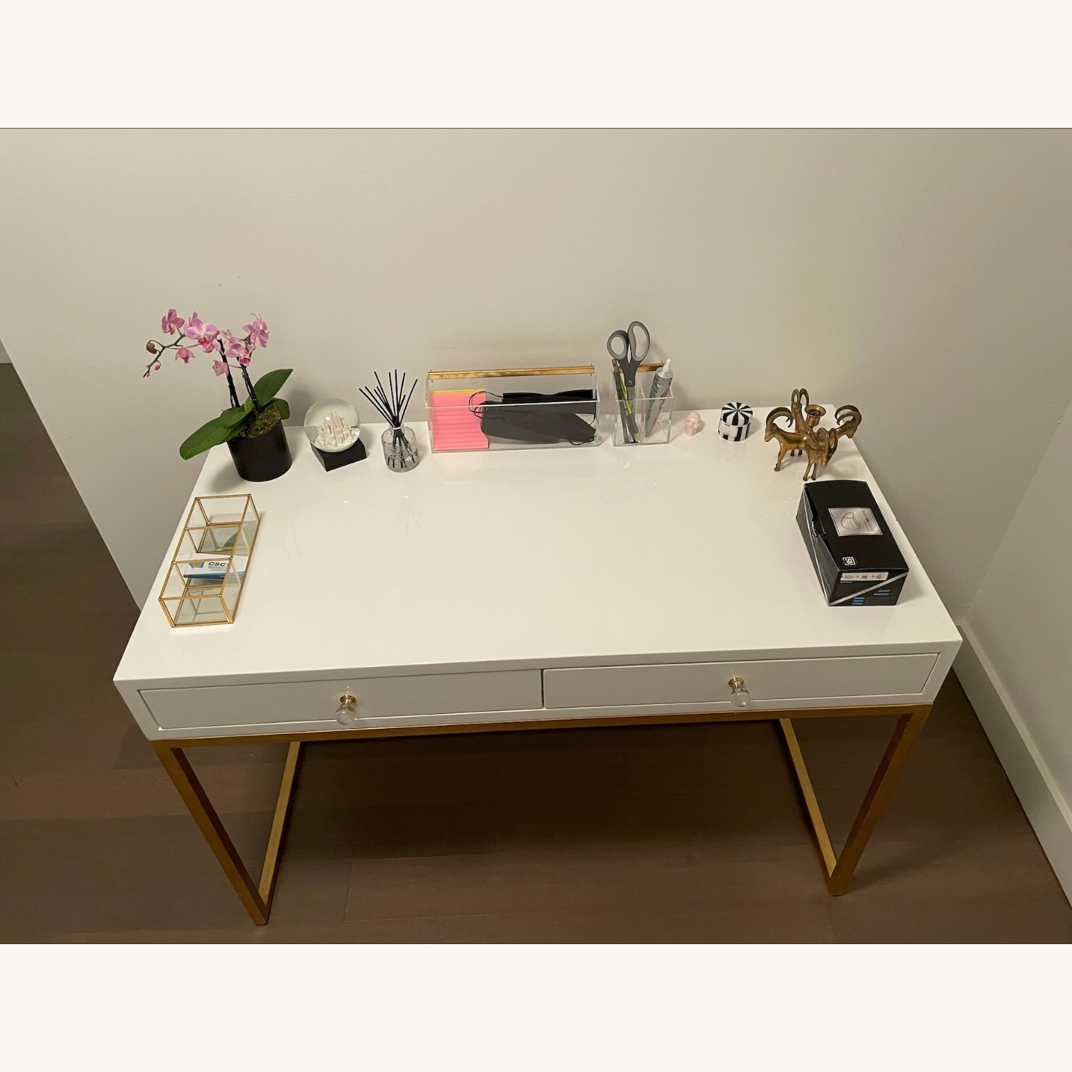 Kathy Kuo Cami Hollywood Regency White Lacquered Gold Desk - image-5
