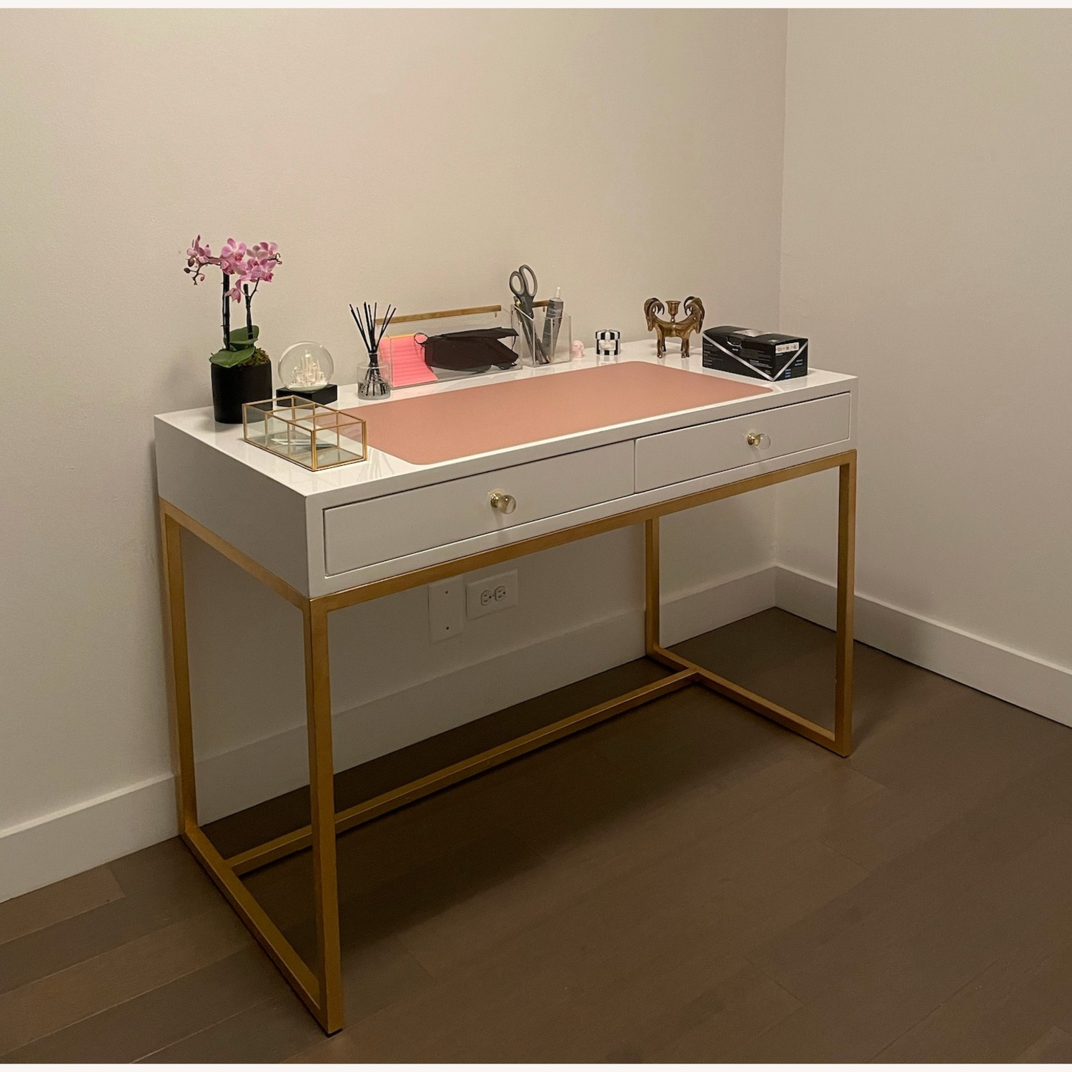Kathy Kuo Cami Hollywood Regency White Lacquered Gold Desk - image-4