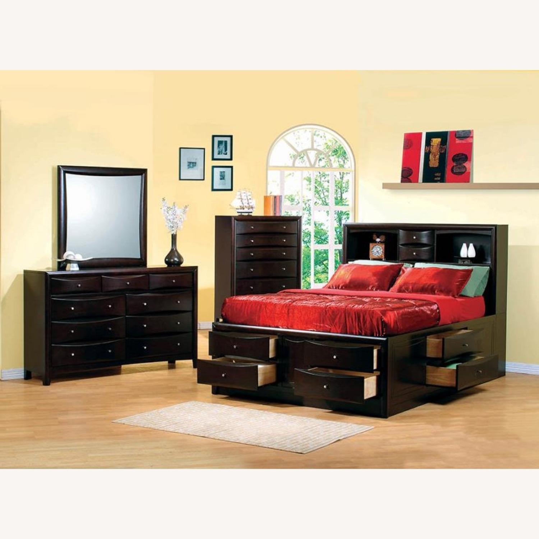 Queen Bed In Deep Cappuccino Solid Hardwood Finish - image-1