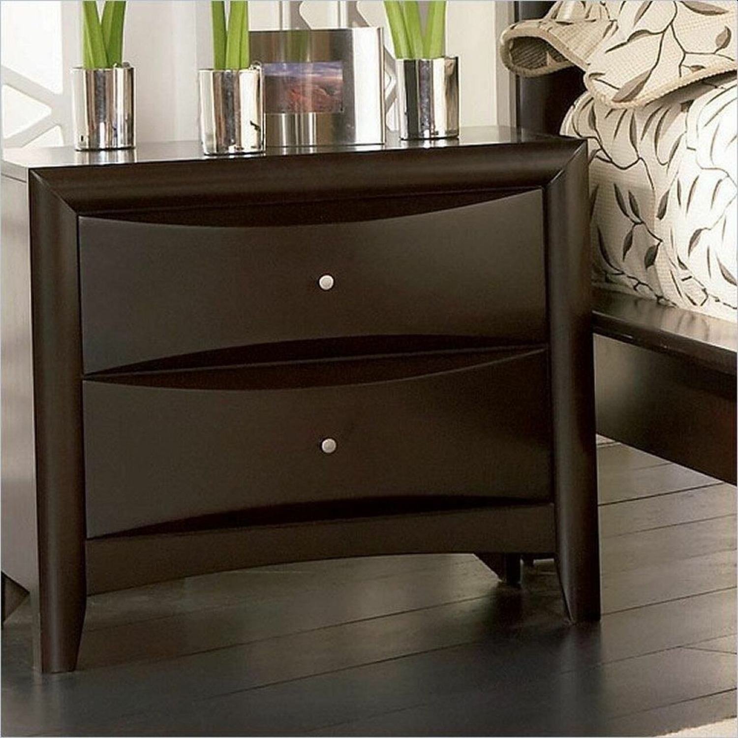 Nightstand In Cappuccino Finish w/ Nickel Knobs - image-2