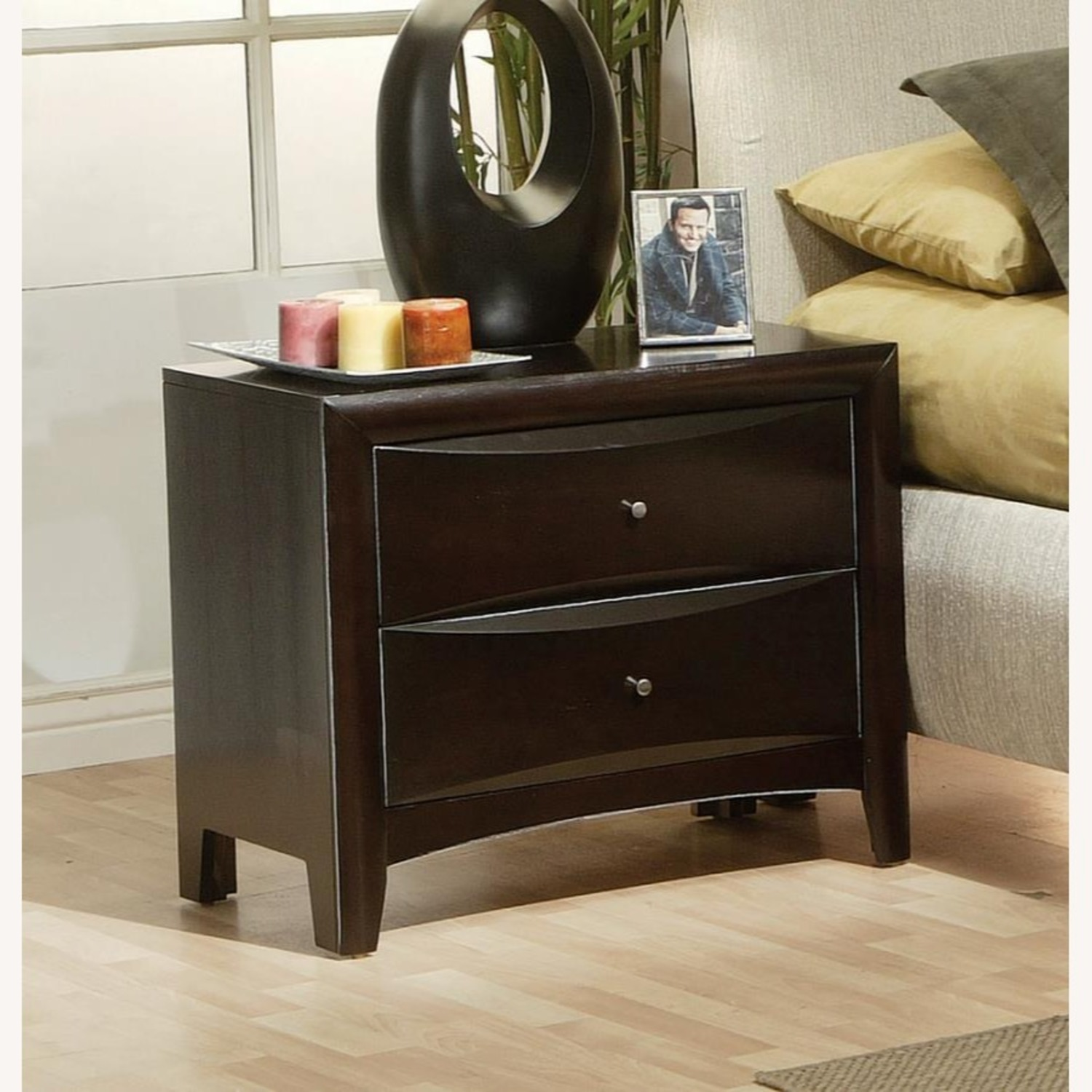 Nightstand In Cappuccino Finish w/ Nickel Knobs - image-3
