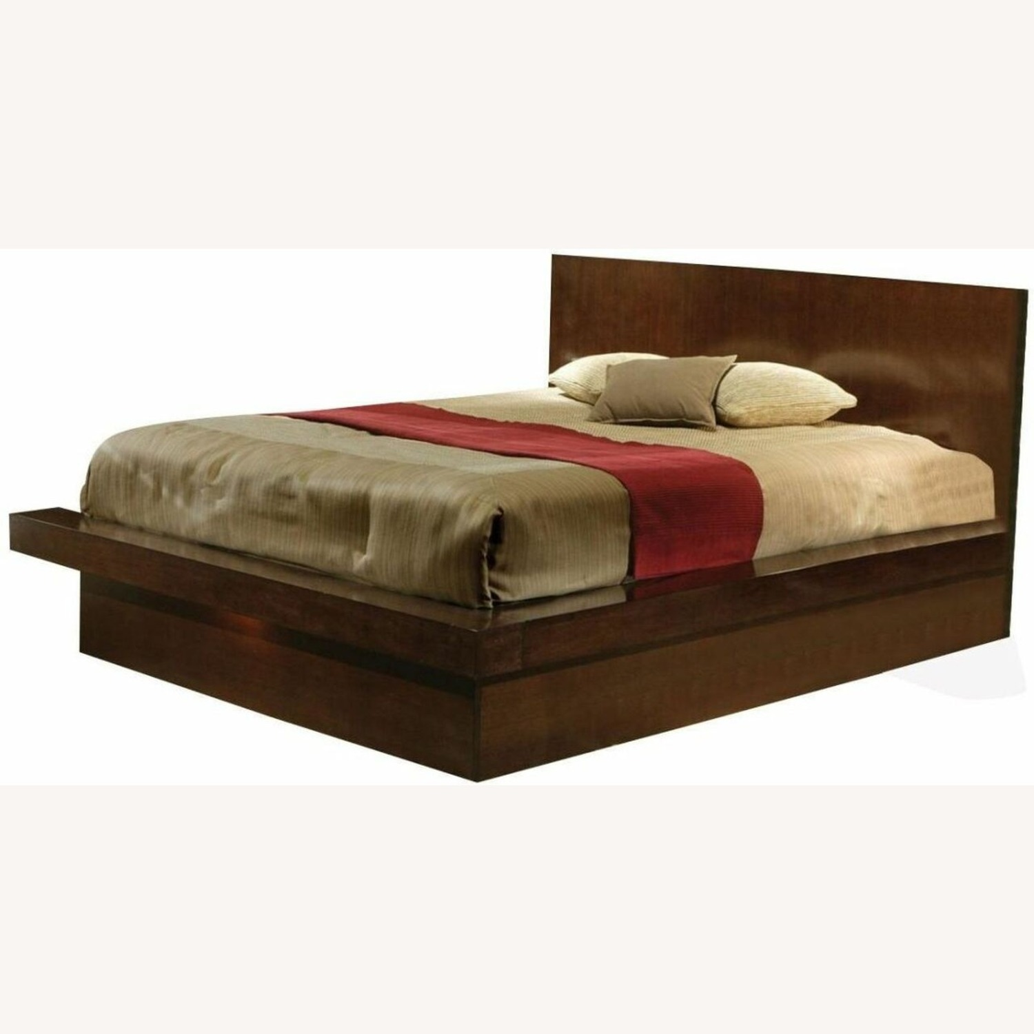 Modern Queen Bed In Rich Cappuccino Finish - image-1