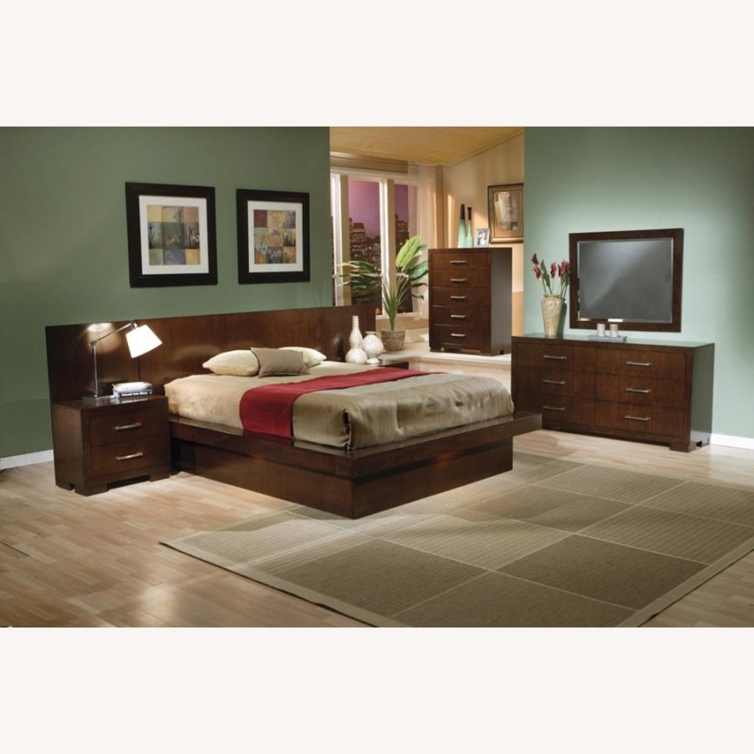 Modern Queen Bed In Rich Cappuccino Finish - image-2