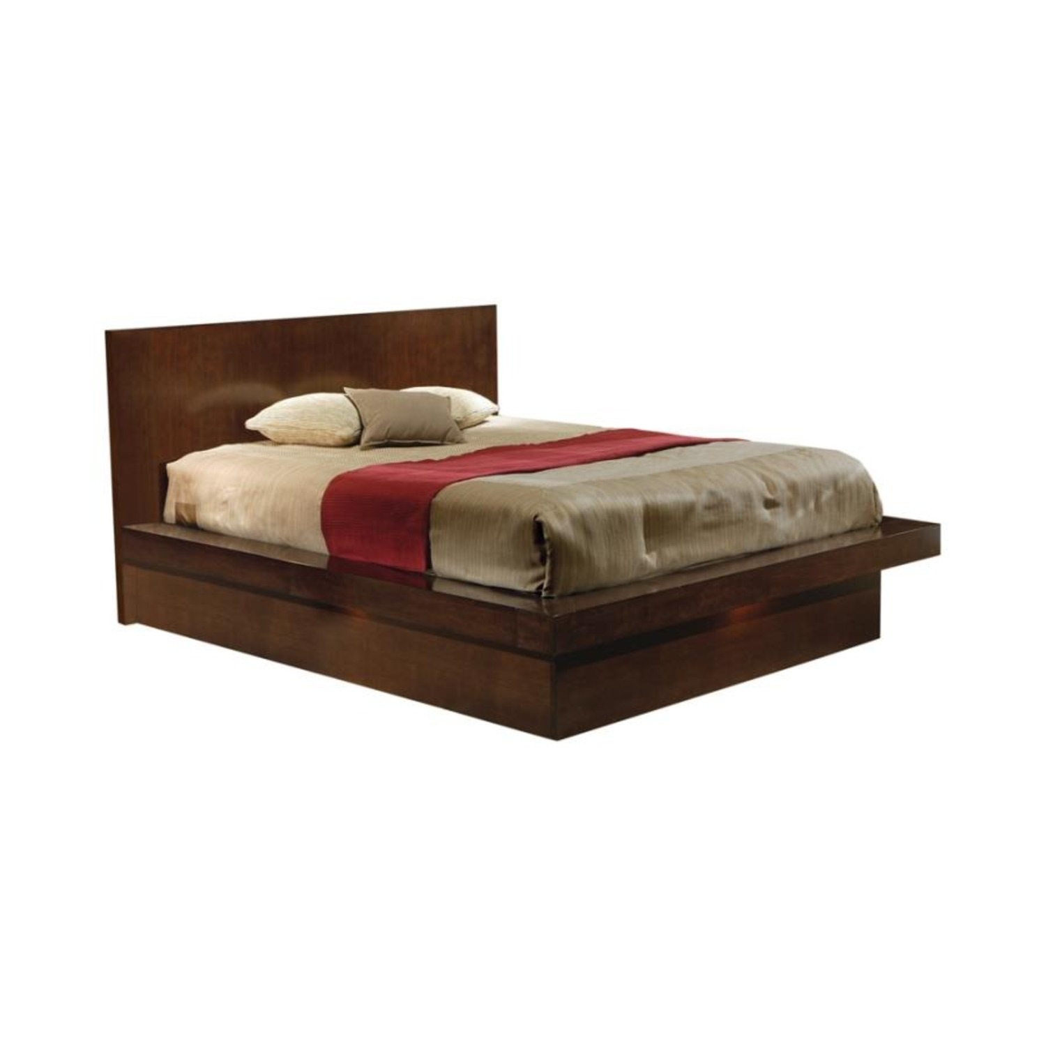 Modern Queen Bed In Rich Cappuccino Finish - image-0