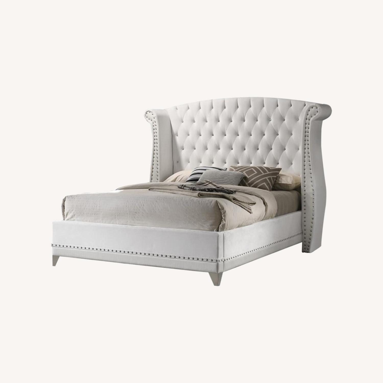King Bed In White Velvet Upholstery W/Tapered Legs - image-3