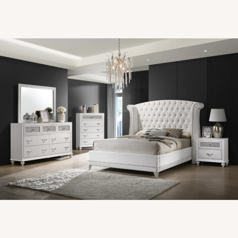 King Bed In White Velvet Upholstery W/Tapered Legs - image-1