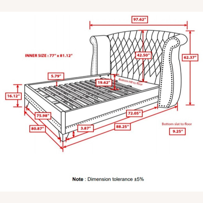King Bed In White Velvet Upholstery W/Tapered Legs - image-2