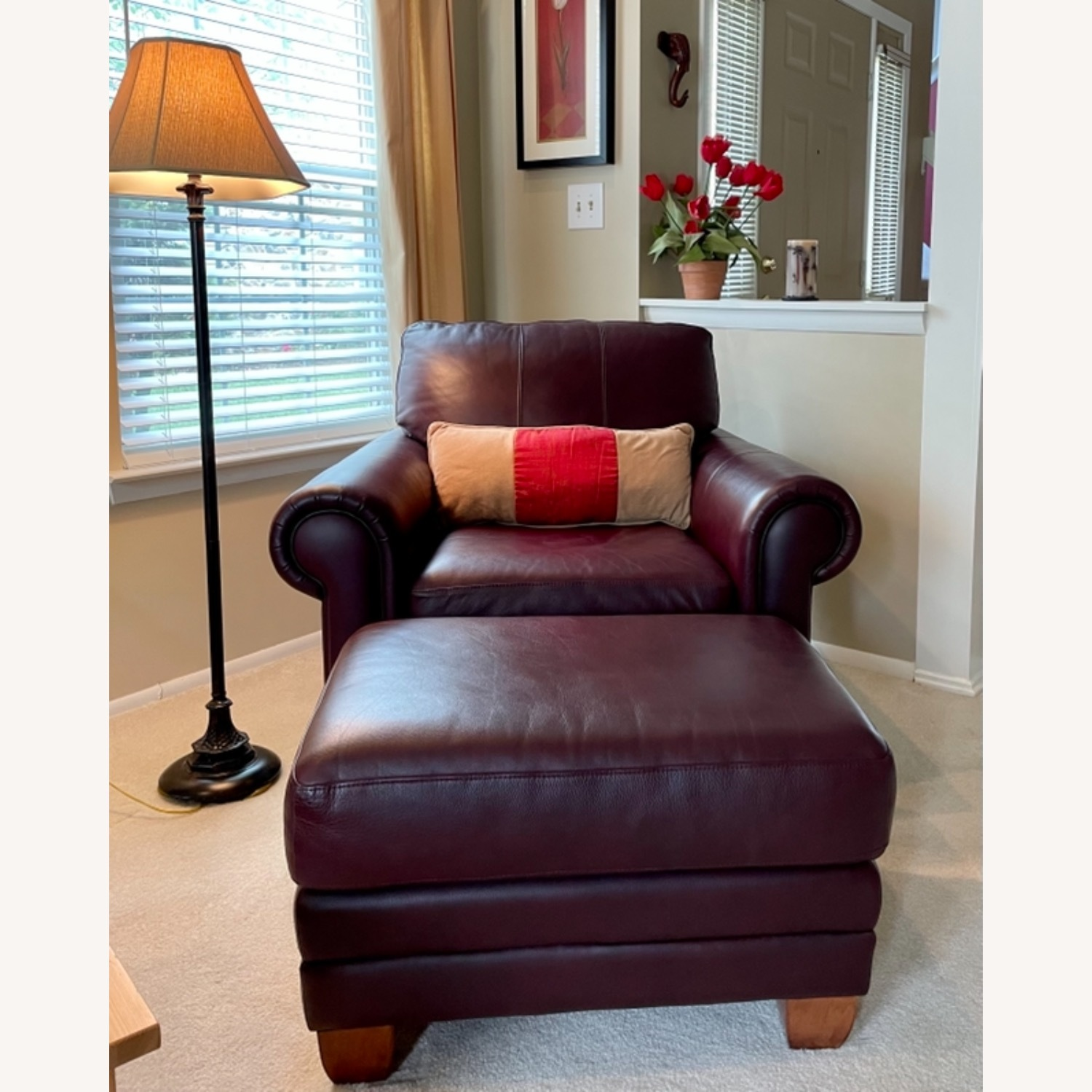 Ethan Allen Leather Chair & Ottoman - image-4
