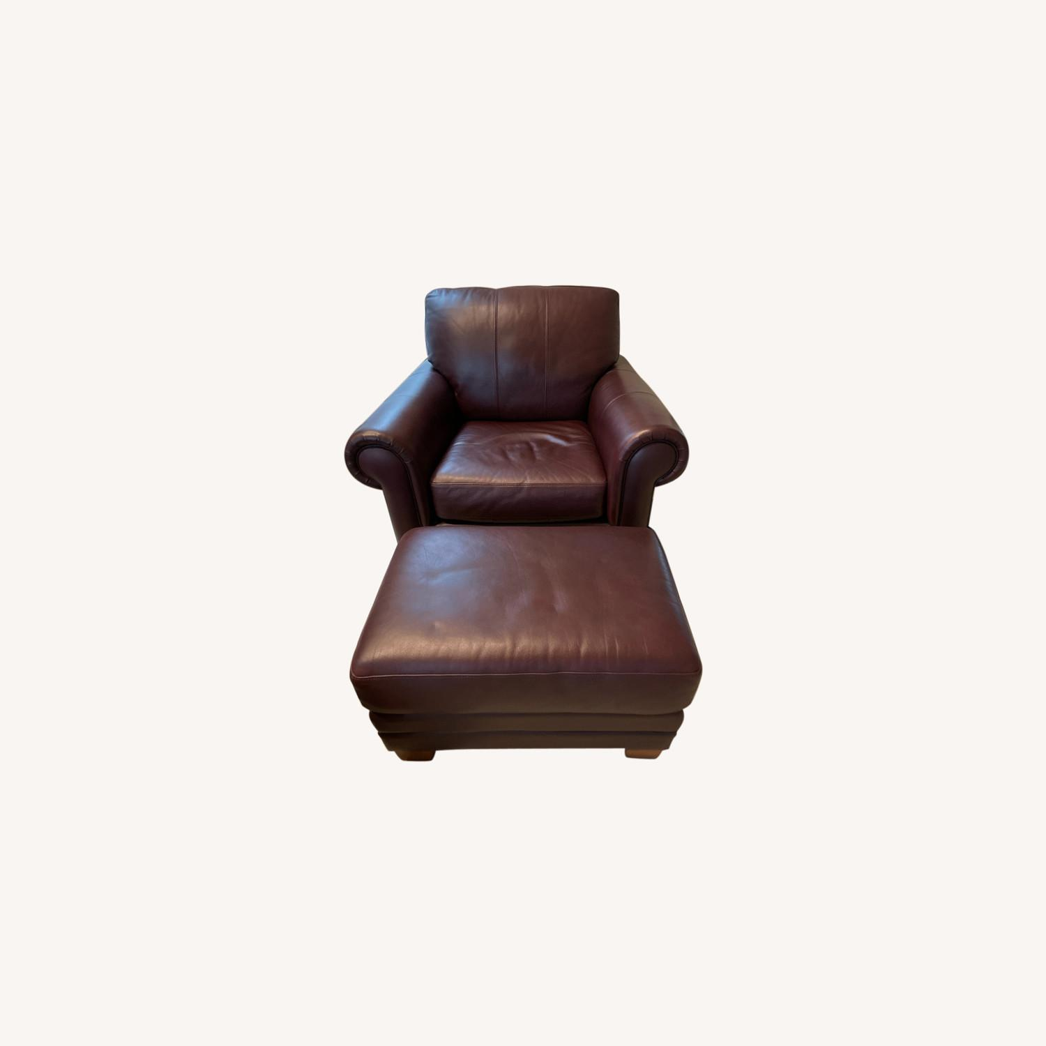 Ethan Allen Leather Chair & Ottoman - image-0