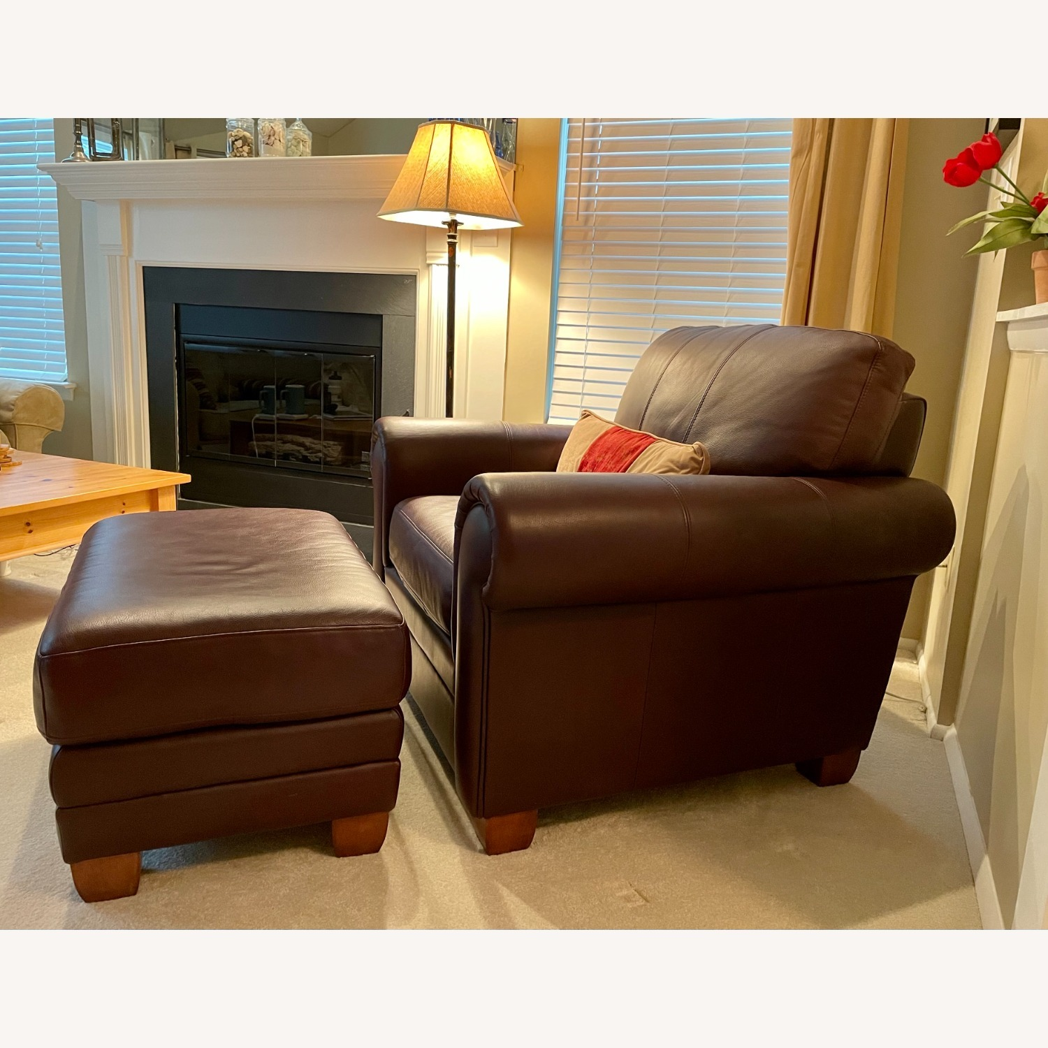 Ethan Allen Leather Chair & Ottoman - image-3