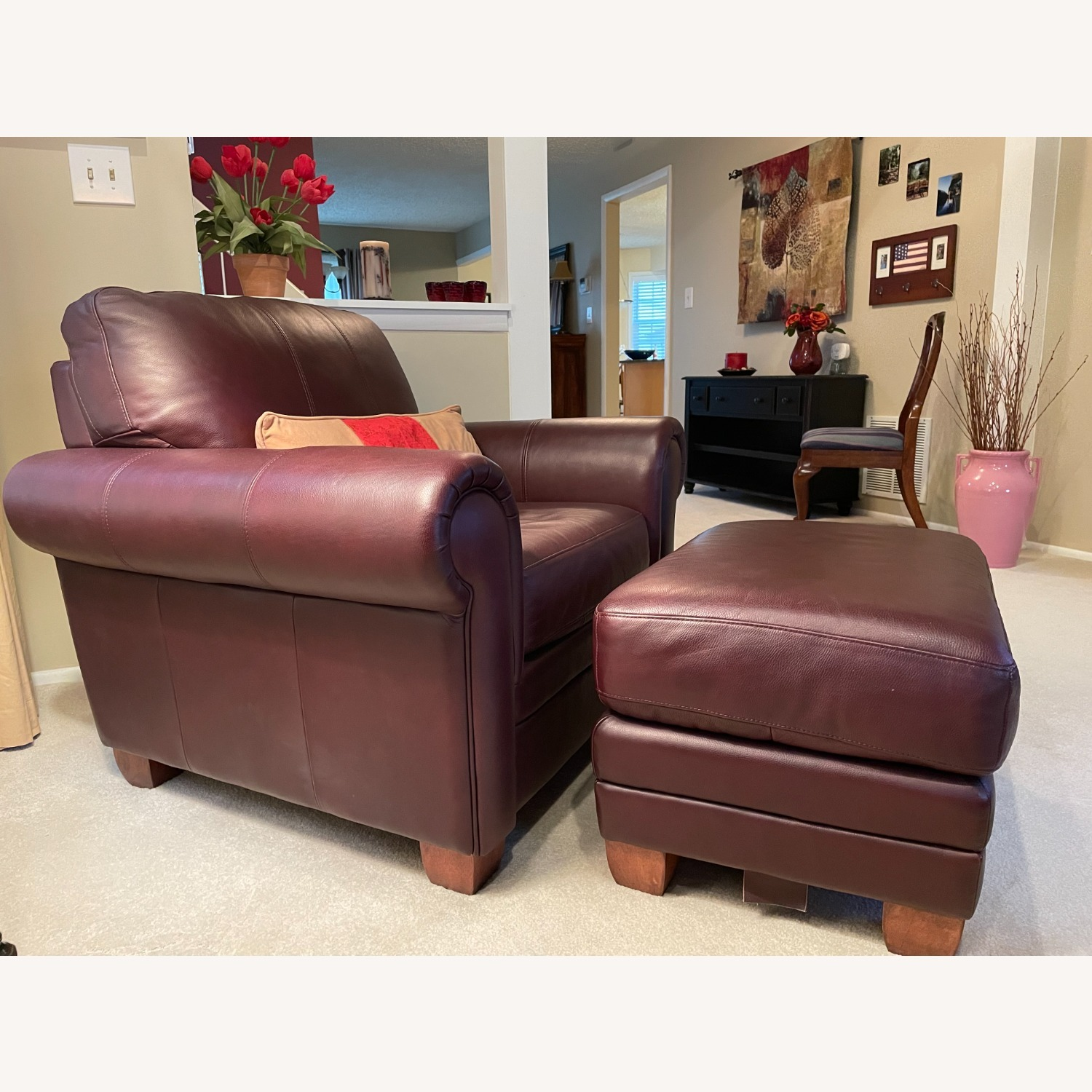 Ethan Allen Leather Chair & Ottoman - image-2