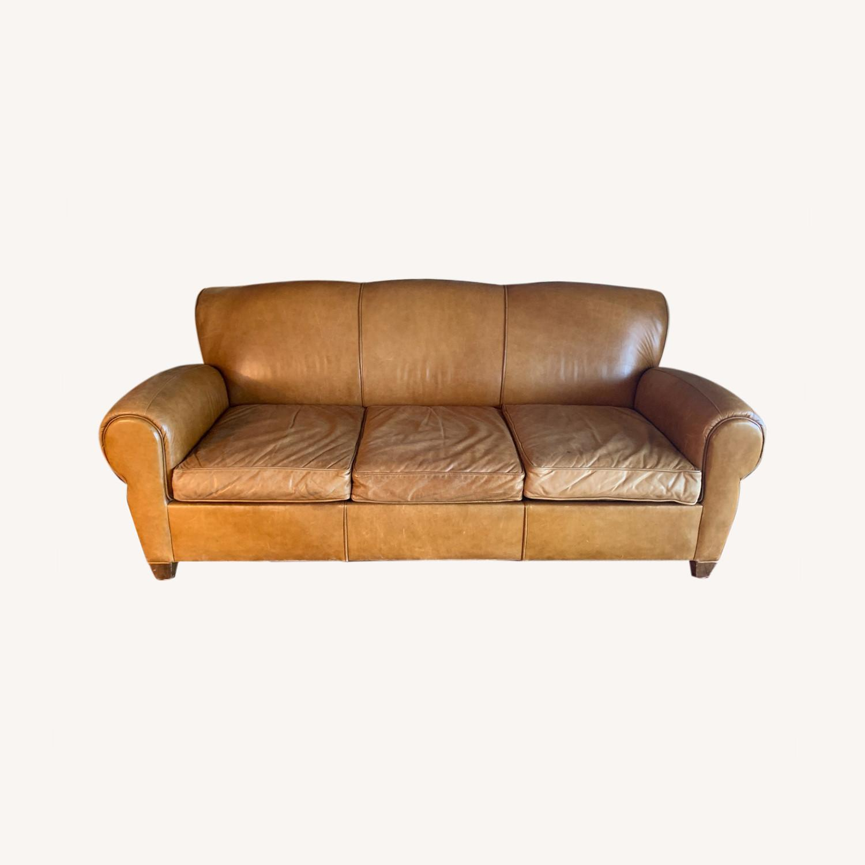 Manhattan Leather Sleeper Sofa from Pottery Barn - image-0