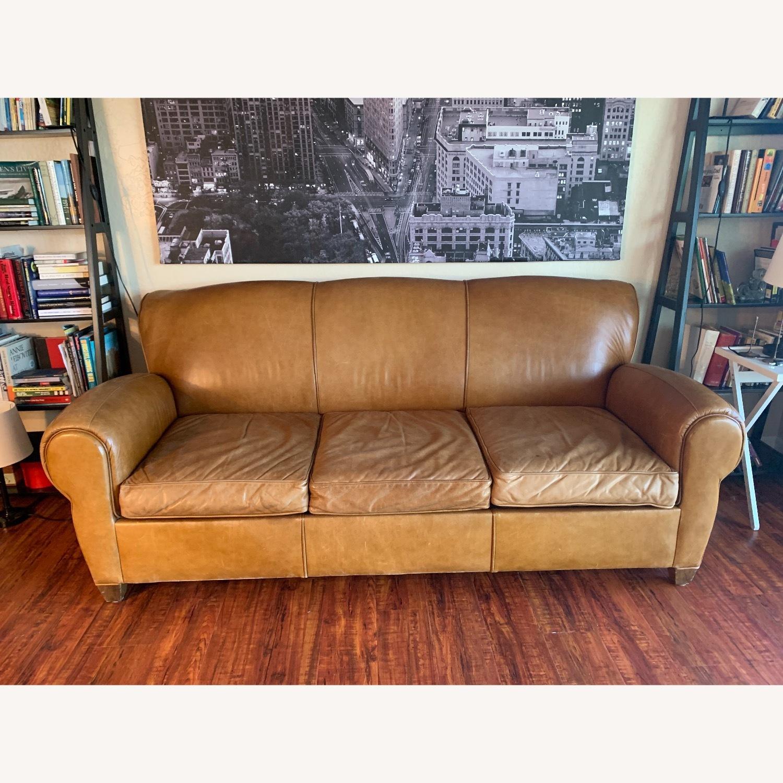 Manhattan Leather Sleeper Sofa from Pottery Barn - image-5
