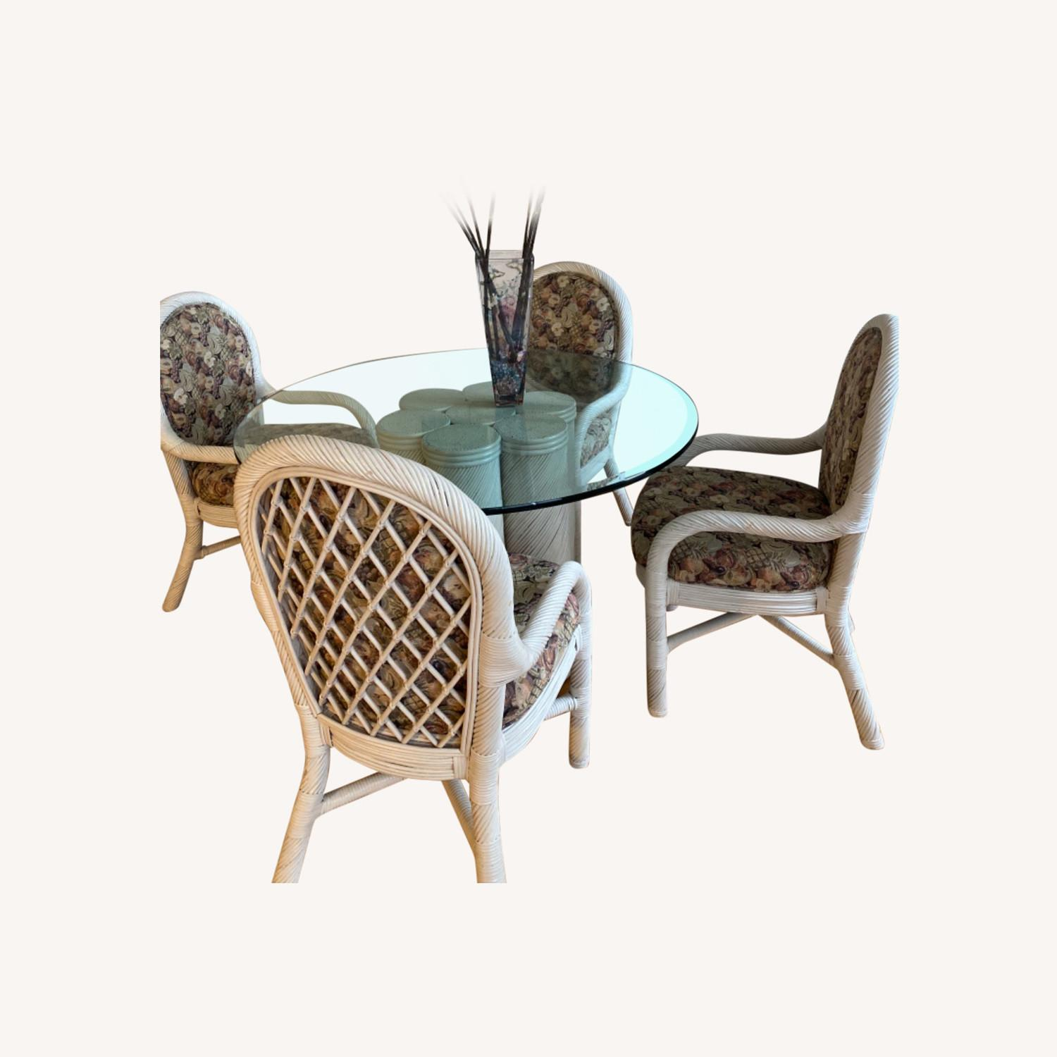 Wicker Upholstered Dining Table + 4 Chairs - image-6