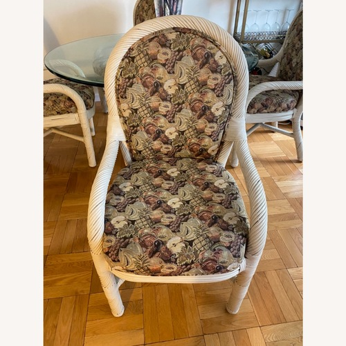 Used Wicker Upholstered Dining Table + 4 Chairs for sale on AptDeco