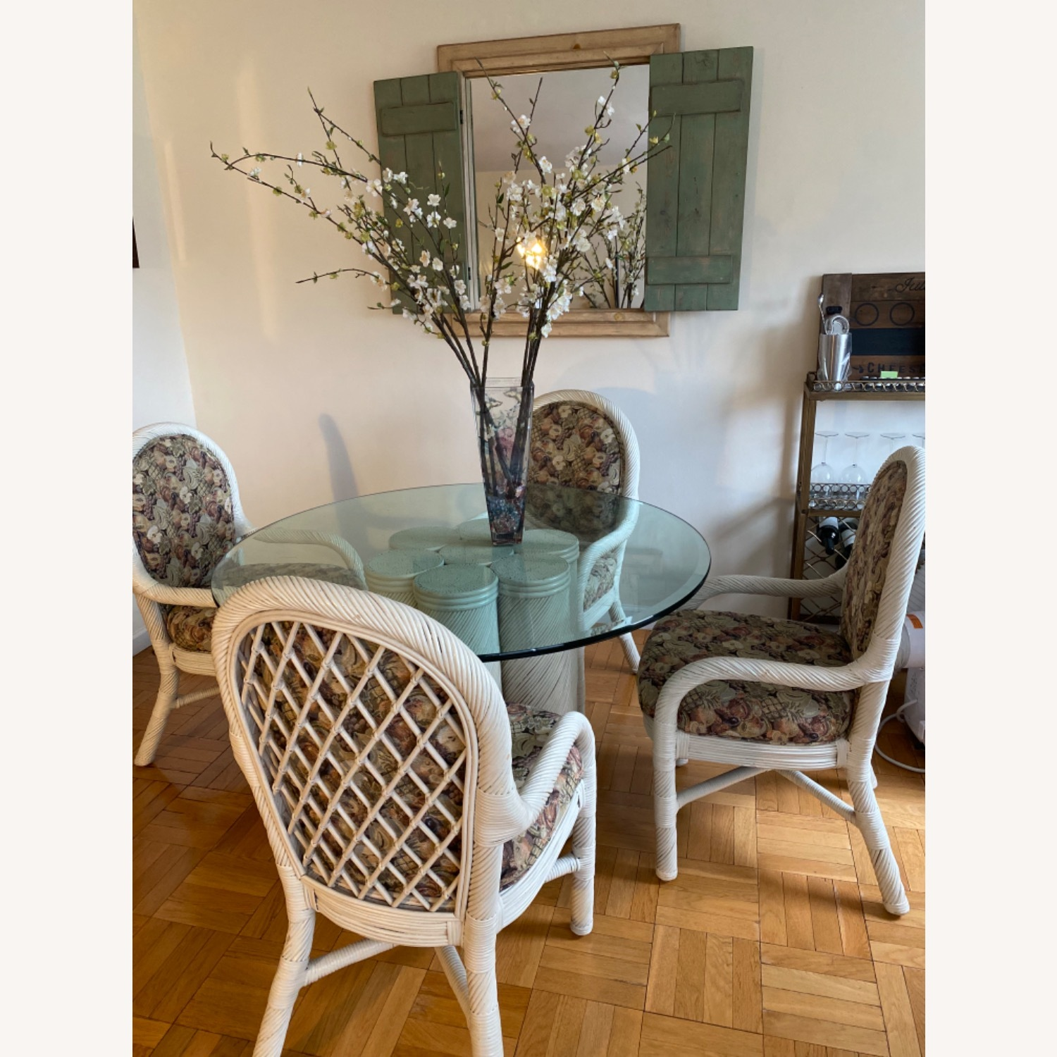 Wicker Upholstered Dining Table + 4 Chairs - image-0