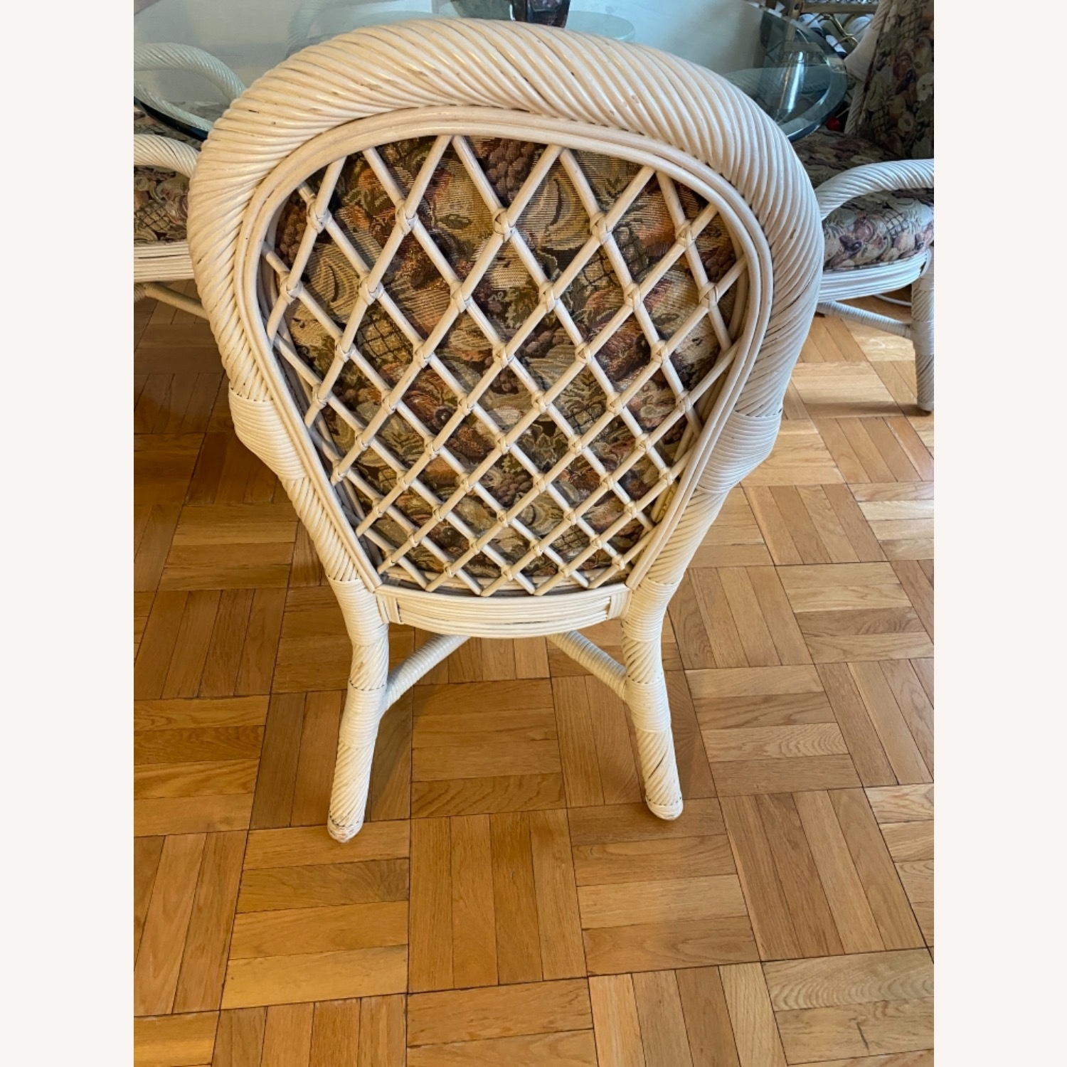 Wicker Upholstered Dining Table + 4 Chairs - image-3