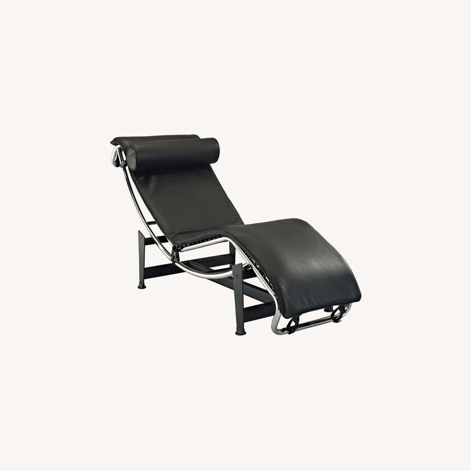 Chaise Lounge In Black Finish W/ Reclining Design - image-5