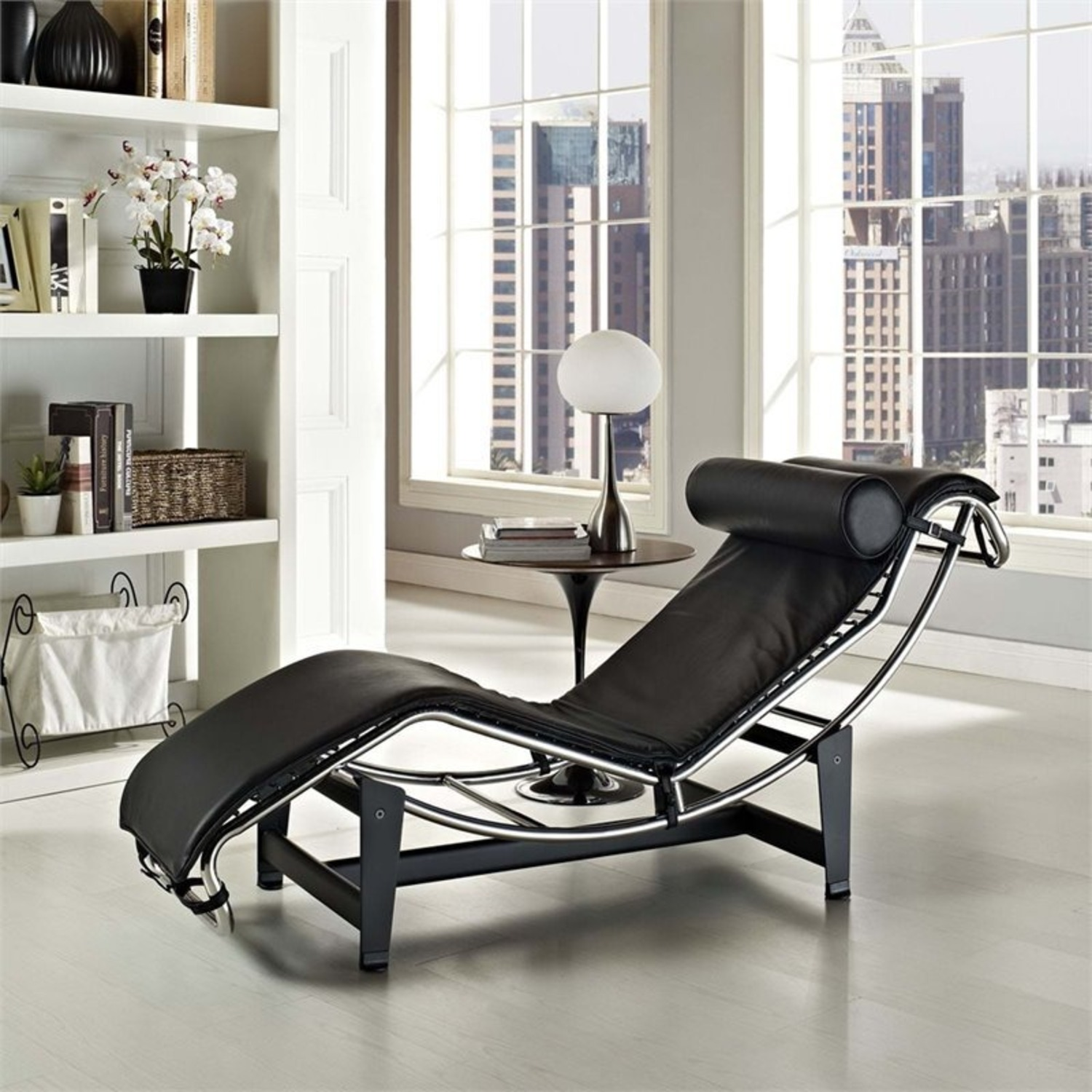 Chaise Lounge In Black Finish W/ Reclining Design - image-3