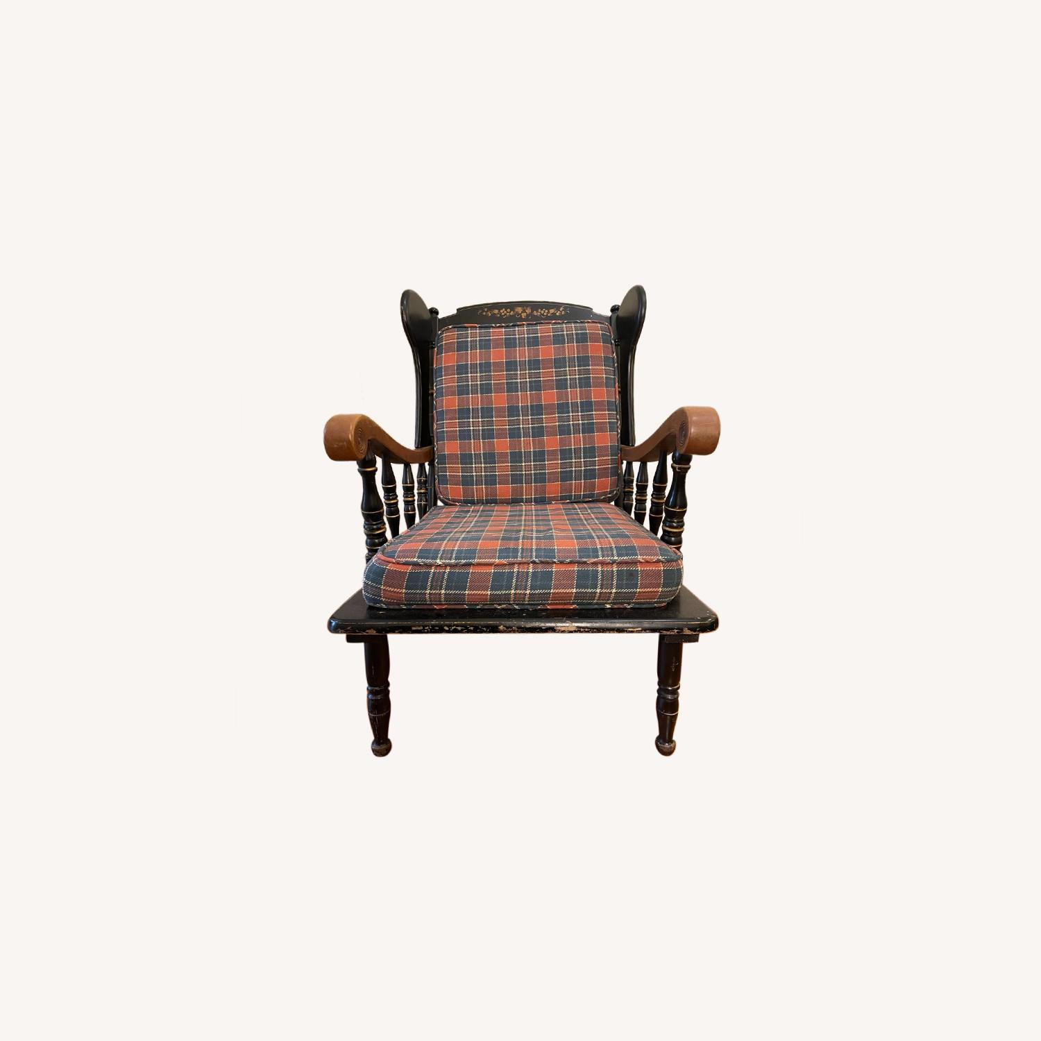 Vintage Wooden Wingback Chair - image-0