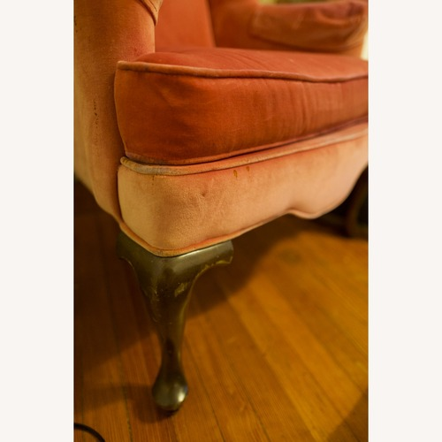 Used Vintage Pink Velvet Cushioned Arm Chair for sale on AptDeco