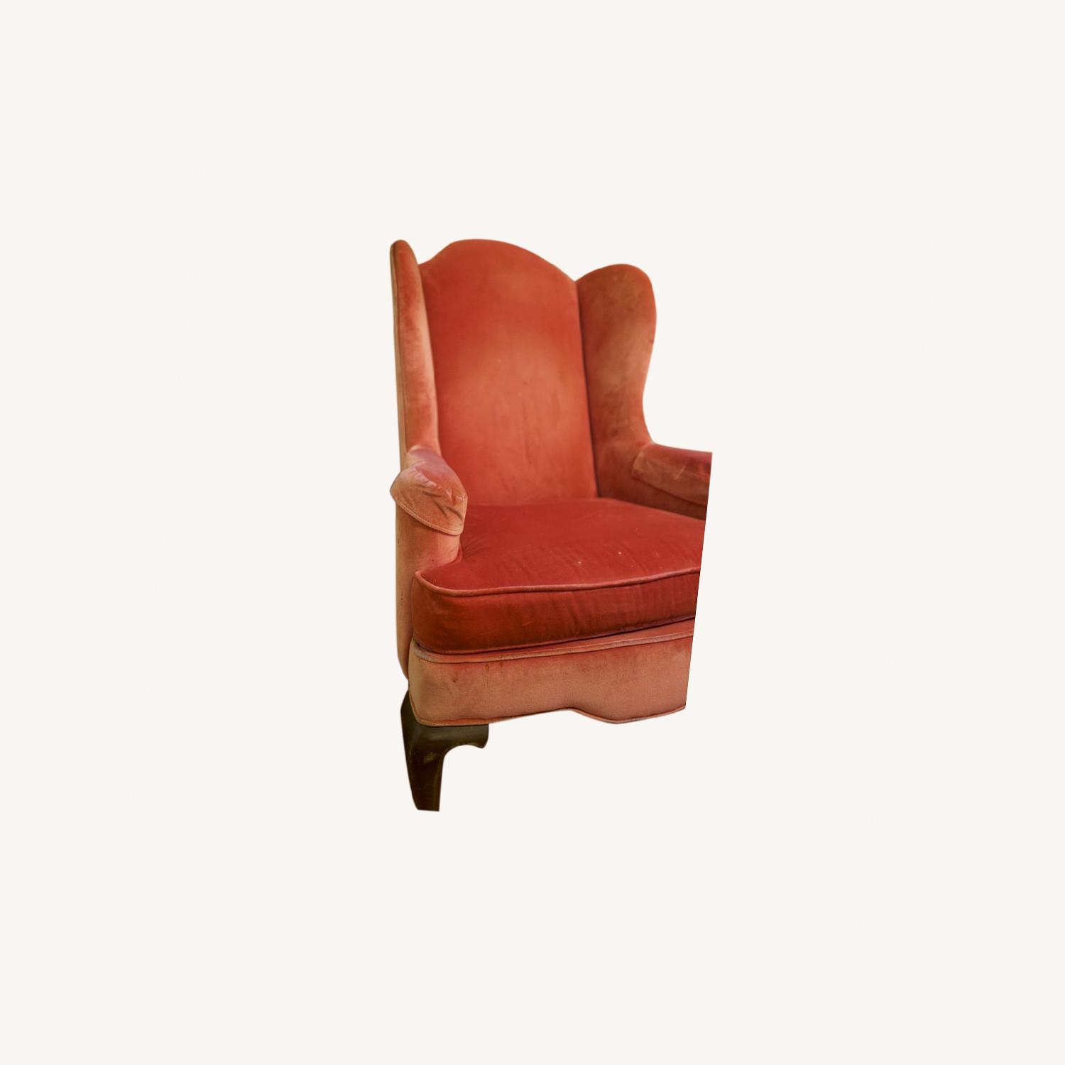 Vintage Pink Velvet Cushioned Arm Chair - image-0