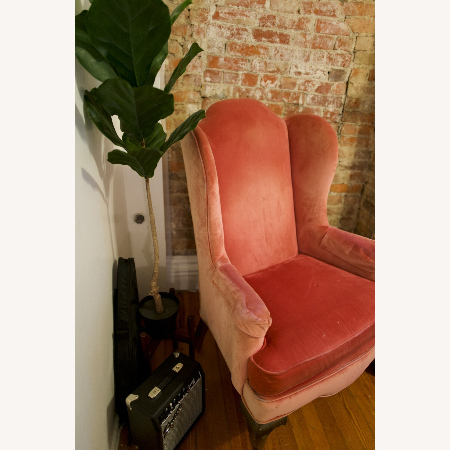 Vintage Pink Velvet Cushioned Arm Chair - image-3