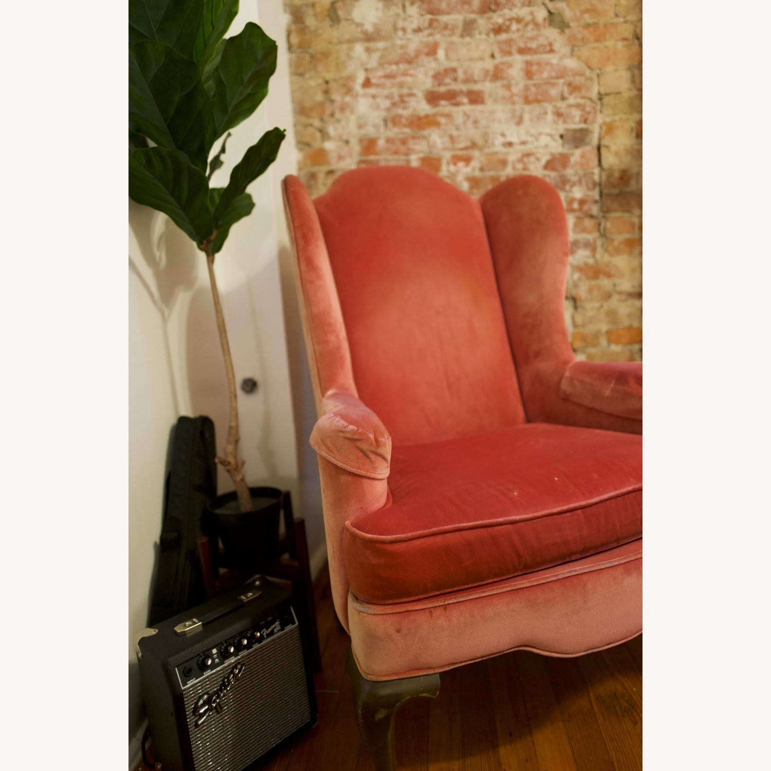 Vintage Pink Velvet Cushioned Arm Chair - image-1