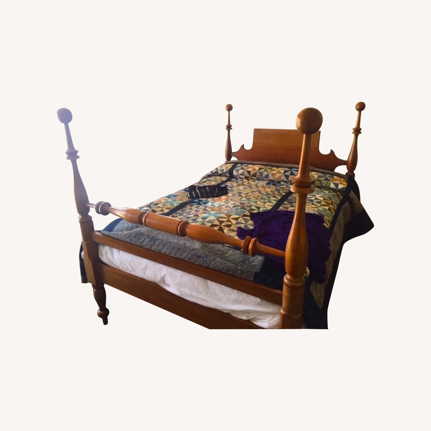 Antique Cherry Wood Four-Post Bed (Full) - image-0