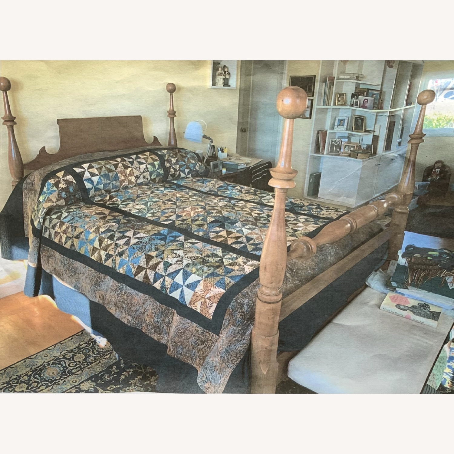 Antique Cherry Wood Four-Post Bed (Full) - image-5