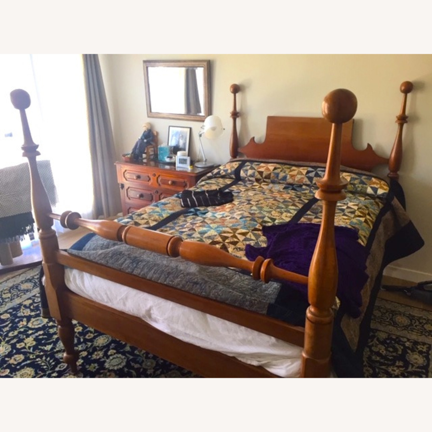 Antique Cherry Wood Four-Post Bed (Full) - image-1