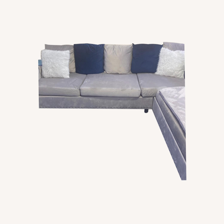 Wayfair Grey c Sectional Sofa Couch - image-0