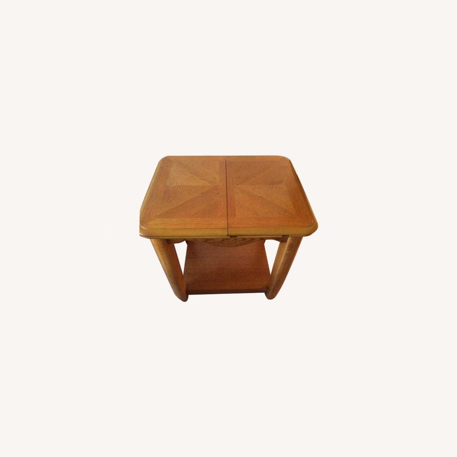 Oak End Table/Side Table with Sliding Panel - image-0