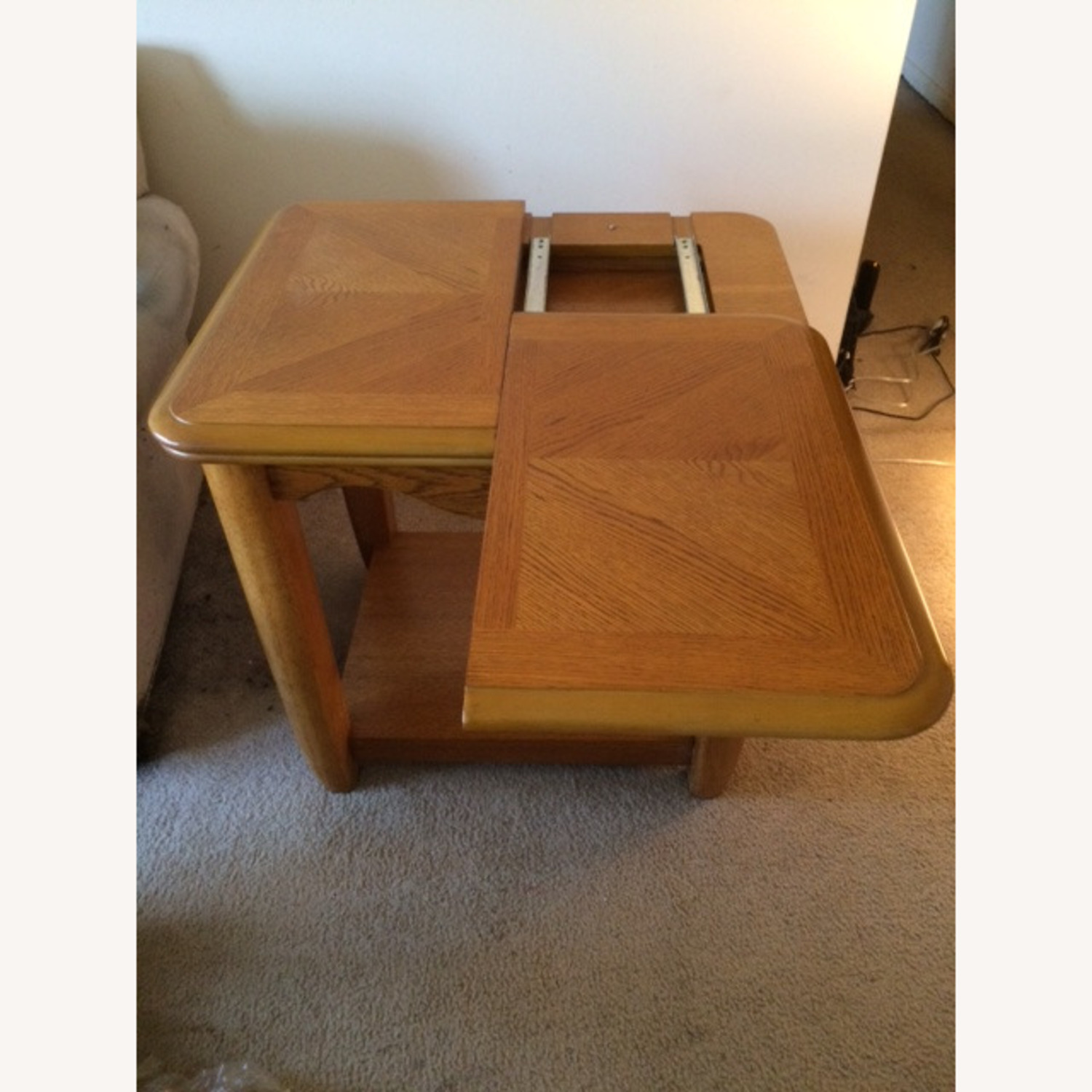 Oak End Table/Side Table with Sliding Panel - image-3