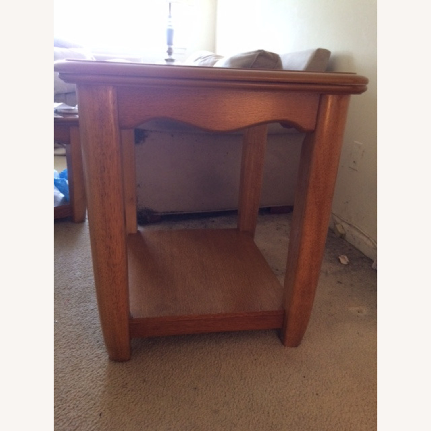 Oak End Table/Side Table with Sliding Panel - image-5