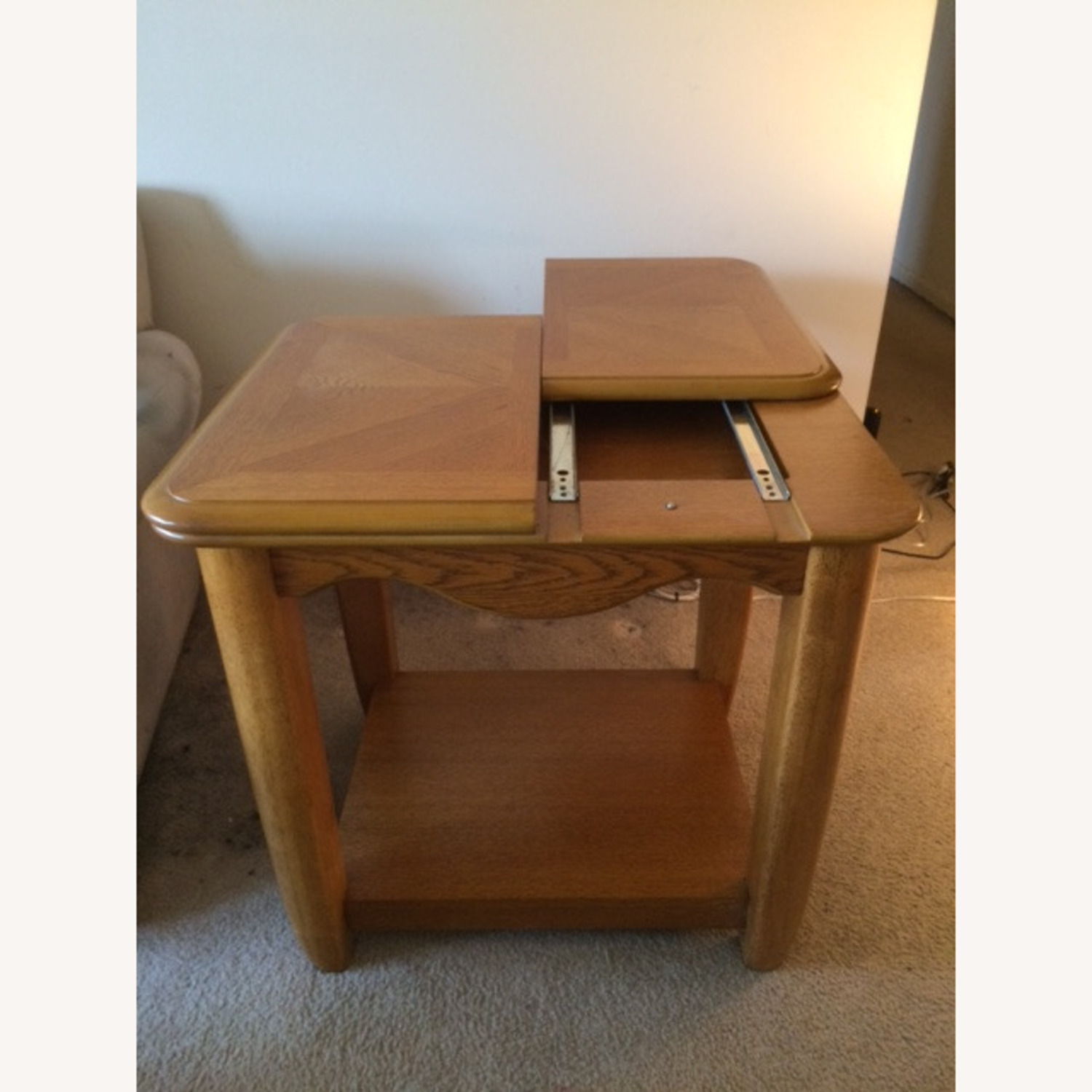 Oak End Table/Side Table with Sliding Panel - image-4