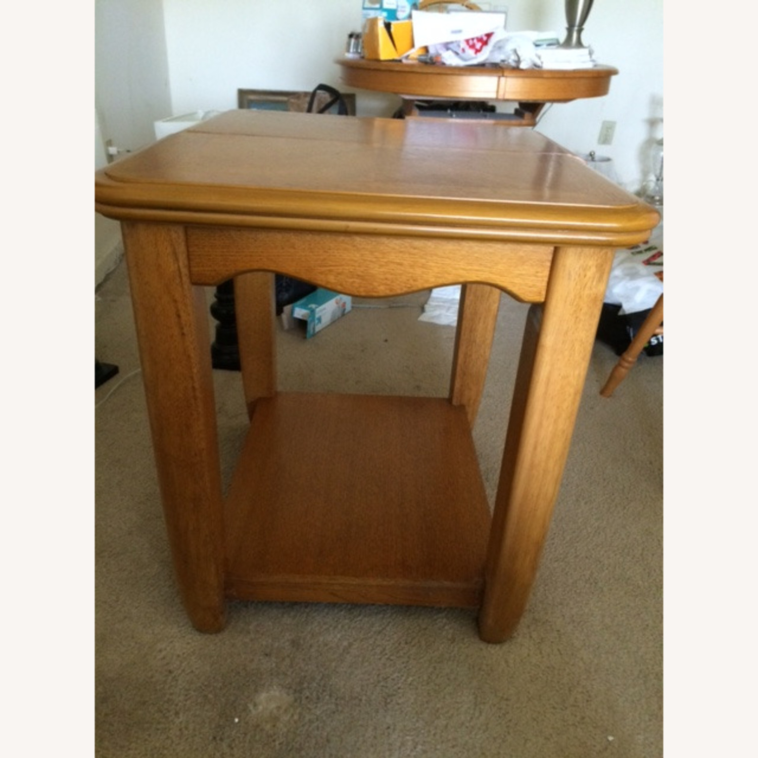 Oak End Table/Side Table with Sliding Panel - image-6